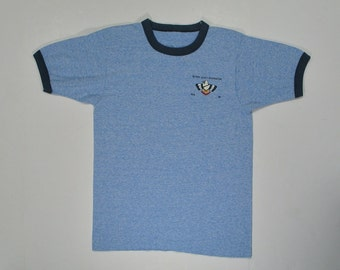 80s Ringer T Shirt BSA tee heather blue soft paper thin XS/S triblend 1986 Boy Scouts Rotary Reservation hipster punk extra small