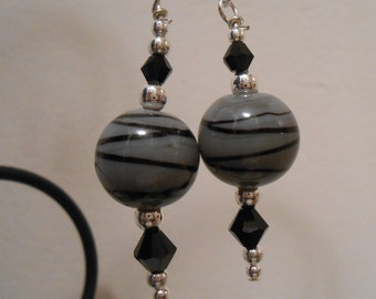 Gray and Black Striped Glass Beaded Earrings Item No. 351
