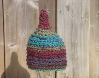 Newborn Girl Hat, Pixie Hat, Newborn Pixie Hat, Crochet, Baby Girl Gnome Hat, Elf Hat, Newborn Photo Prop, Chunky, Baby Shower Gift