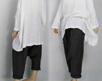 320---Oversized White Cotton Tunic Dress, Supersized Cotton Top, Slouchy Swing Blouse, Loose White Top, Plus Size, One Size Fits All.