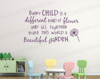 Classroom Wall Stickers - Kids Room Quotes - Kids room Decor - Kids Quotes - Removable wall Decal - Every Child is a different...