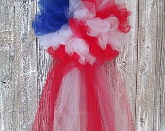 Patriotic Tulle Flag Half Pom Bow, Memorial Day, 4th of Jult, Party Wedding Pew Bow, Red White Blue Centerpiece