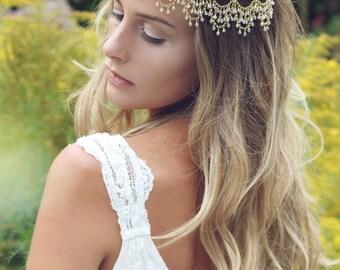 Bridal headpiece, Bohemian head chain, forehead Indian headchain, boho wedding, boho headpiece, gold hair accessories, wedding jewelry