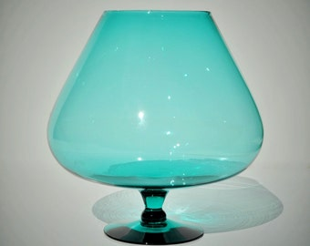 "8"" Blue Glass Brandy Snifter, Oversized Vintage Murano Italian Empoli, Turquoise Aqua, Hand Blown Goblet Vase, Mid Century, Retro Mad Men"