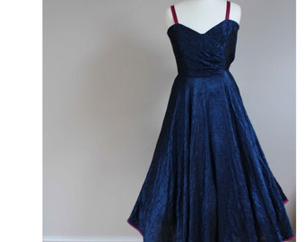 Stunning 1950s prom dress blue dress sapphire dress sharkskin dress size 8 dress vintage dress swing dress circle skirt dress 40s 1950s 50s