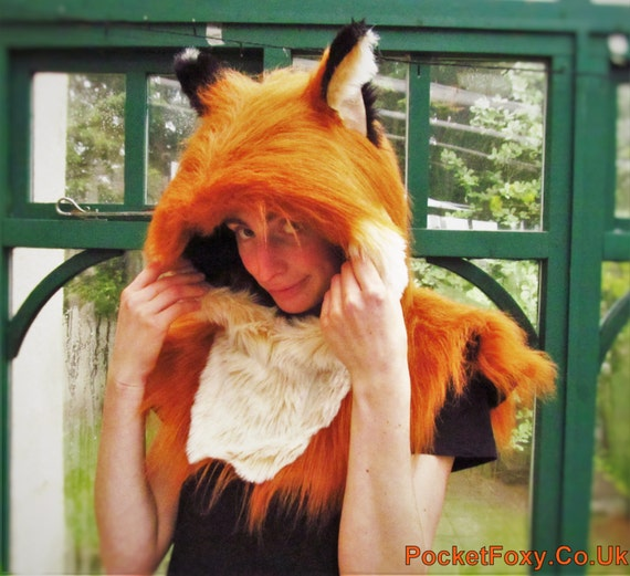 Nick Wilde Zootropolis Zootopia Ginger Realistic Fox Ear Hood Cowl Luxury Custom Colour Faux Fur Kitsune Tails Vulpix Style Pointed