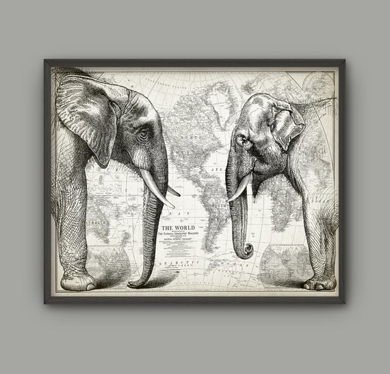 Elephant Wall Art Poster African And Asian Indian Elephant