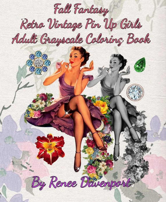 PDF of  Fall Fantasy Retro Vintage Pin Up Girls Adult Grayscale Coloring Book--26 Coloring Pages