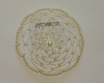 Beaded Kippah in Ivory Pearl with Silver Wire