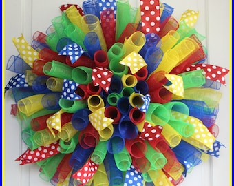 XL Autism Awareness Curly Wreath – Back To School Spiral Deco Mesh Wreath - Red Green Blue Yellow Puzzle  Multicolor – Teacher Classroom
