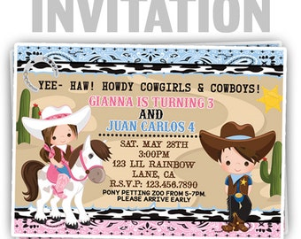 829: DIY - Cowboy and Cowgirl Party Invitation Or Thank You Card