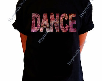 """Girls Sequence T-Shirt """" Pink AB Sequence Dance """" Size XS to XL"""