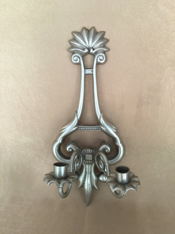 Pewter Wall Sconce Candle Holder Sconce French Provincial