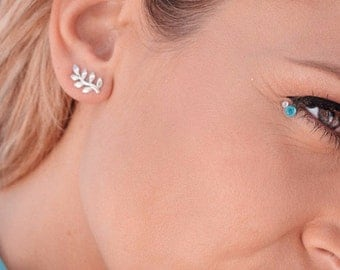 Stud Earrings,Boho Earrings,Ear Climbers,Climber Earrings,Ear Crawlers,Bridesmaid Earrings,Silver Earrings,Leaf Earrings JE203 JE243