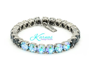 GRAPHITE & GLACIER 8mm Crystal Chaton Stretch Bracelet Made With Swarovski Elements *Pick Your Finish *Karnas Design Studio™ *Free Shipping