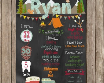 Printable Camping First Birthday Chalkboard, Camping Birthday Chalkboard, First Birthday Chalkboard, Birthday Sign, Camping Party