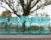 Vintage Blue Mason Jar, Ball Blue Canning Jar, Aqua Ball Mason Jar, Perfect Mason, Antique Fruit Jar