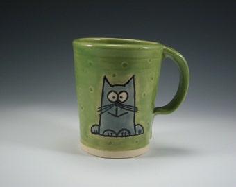 Pottery Cat Mug | Pottery Mug | Handmade Mug | Pottered and Pieced | Cat Lover | Happy Cat | Ceramic Mug | Cat Coffee Cup | Unique Cup