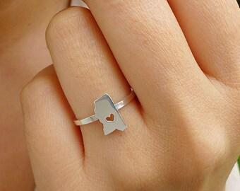 Sterling Silver Mississippi Ring / Custom Heart / Mississippi State Ring / Love Mississippi / Mississippi Map Ring / Mississippi Heart