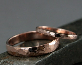 14K Gold Wedding Set--Perfect Hammered Bands--Rose Gold Rings--His and Hers Wedding Rings--Men's Wedding Band--Women's Wedding Ring