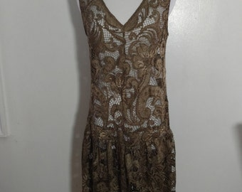 90s Vintage Anna Sui 20s Style Drop Waist Lace Dress {Made in USA}