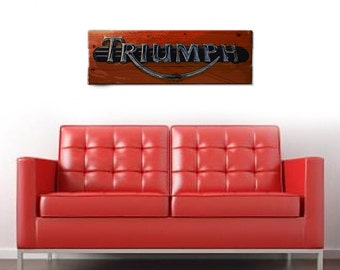 "Triumph Motorcycle Vintage Style Wall Art on Solid Wood Boards - 32"" x 11"" Biker Art, British, UK, Emblem"