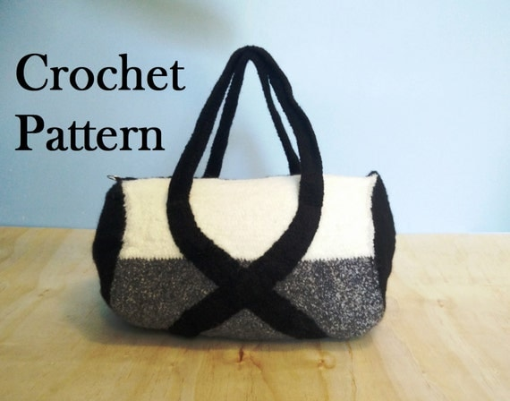 The Wolf Pack Felted Crochet PATTERN/Instructions Duffel