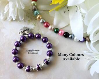 Plum Bracelete-Purple Bracelet-Flower Girl Bracelet-Flower Girl Gift-Girl Purple Bracelet-Girl Jewelry-Silver Bead Cap Pearl Bracelet