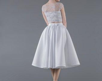 Tea Party - midi skirt / white midi skirt / full circle skirt / full bridal skirt / bridal satin skirt / tea length bridal skirt
