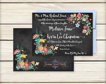 Chalkboard Wedding Invitation – Elegant Chalkboard Flowers – Rustic Invitation – 2 pc including RSVP Postcards