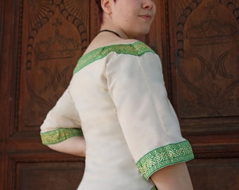MADE TO ORDER - ivory cotton shirt with celtic green and gold trimming renaissance wide neckline blouse cotton light summer larp wicca pagan