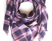 Purple Blanket Scarf, Plaid Blanket Scarf, Gift For Her, Cozy Scarves, Winter Scarf, Cotton Blanket Scarf, Pink Purple Scarf