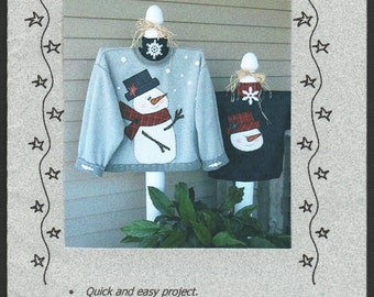 Snowman Applique Sweatshirt Craft Pattern House on the Hill Winter Christmas Snowman Craft Pattern 113 Snow Day UNCUT