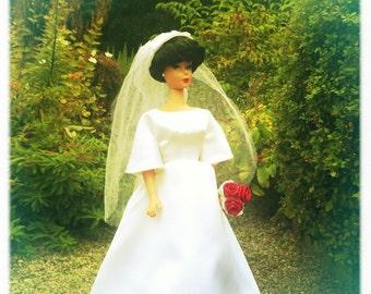 Barbie Wedding Dress, Barbie Clothes Handmade, Barbie Doll Clothes, Barbie Vintage, Barbie Clothes, Barbie Dresses,