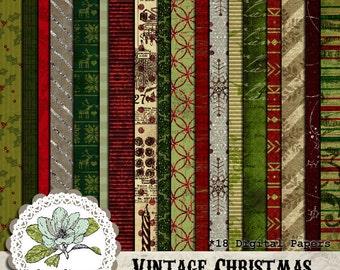 Vintage Christmas - Digital Scrapbook Paper Pack