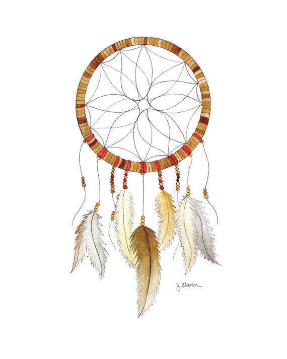 Original watercolor dreamcatcher painting dream catcher art