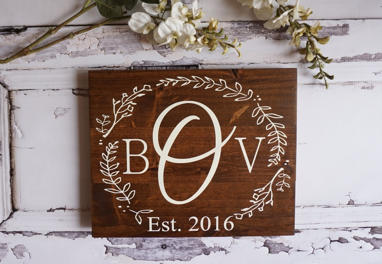 Rustic Home Decor Monogram Wedding Gift Custom Name Sign
