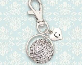 Custom Initial Volleyball Keychain / Zipper Pull- 54521