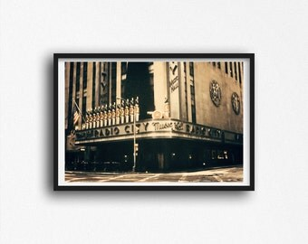 Radio City Music Hall Photo New York City Christmas Spectacular Rockettes Photograph Aged Grunge Street Photography Manhattan Art Print