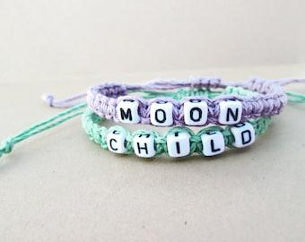 Moon Child Bracelet // Pastel Grunge Bracelet // Hippie Soft Grunge Punk 90s Kawaii Creepy Cute Pastel Goth Boho // Purple Mint Bracelet