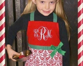 Monogrammed Childs Christmas Apron, Custom Childs Apron, Girls Apron, Childs Smock
