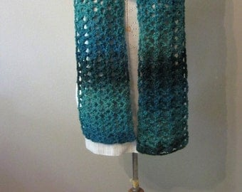 READY TO SHIP**Winter scarf, Green winter scarf, Long winter scarf, Dressy winter scarf, dressy green scarf, winter accessory, crochet scarf