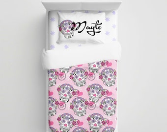 Custom Sugar Skulls Bedding - Personalized Skulls kids Bedding Set - Kids Duvet/Comforter Set - Hearts Baby crib sheets