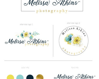 Watercolor flower logo  premade logo package watermark  branding package photography logo marketing package