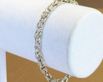"Sterling Silver Textured Byzantine Chain Bracelet 7 1/2"""