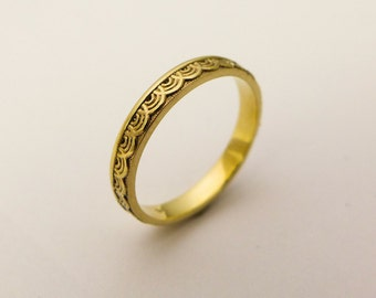 14 karat gold simple wedding ring for women gold ring with delicate pattern thin