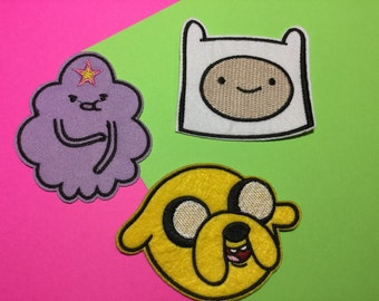 Cute Adventure Time Princess Pink, Jake, and FInn - Iron on Sew on Patches