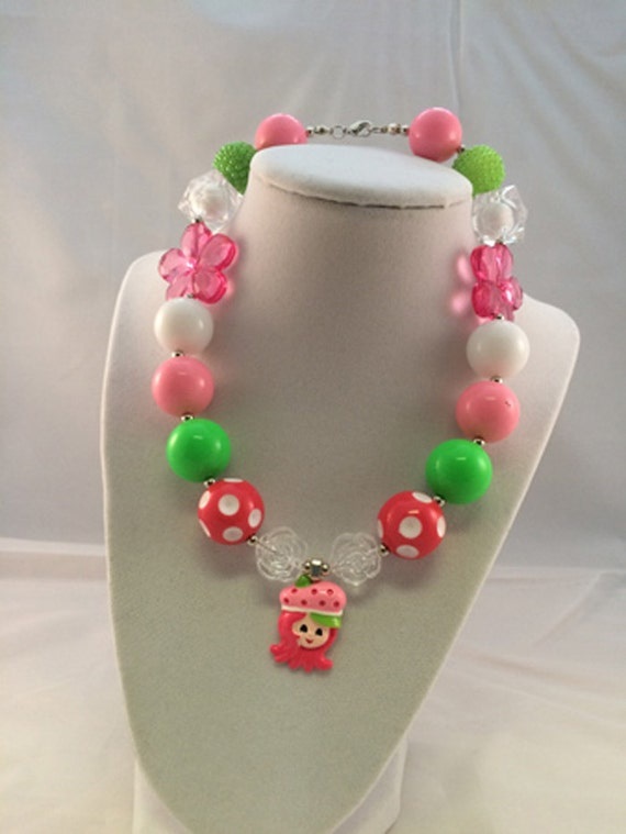 Strawberry shortcake necklace bubblegum by phenomenalxreations for Strawberry shortcake necklace jewelry