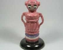 Pink squid robot woman,ooak art doll,ceramic figurine,clay sculpture,animal anime art,girl art doll,pottery art,squid figurine,pink tentacle