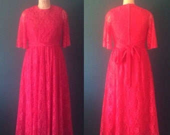 Red dress- Lace dress- Red gown- Lace gown- Three quarter sleeve- Red formal dress- Holiday dress- Prom dress- Red prom dress- Large